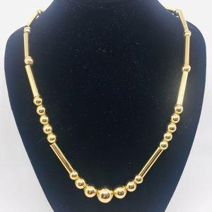 1950s Vtg. Napier Gold-tone Ball & Tube Necklace